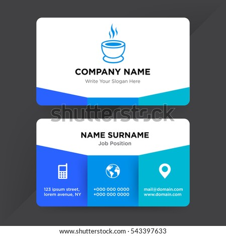 Template business card fast food services stock vector 543397633 template of business card for fast food services company with blue cup of soup vector on colourmoves Choice Image