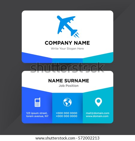Template business card travel agency airline stock vector 572002213 template of business card for travel agency airline services company with blue plane and aircraft wajeb Choice Image