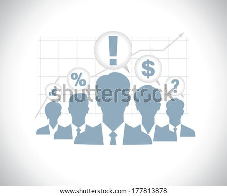 Template of business people team silhouettes with chart - stock vector