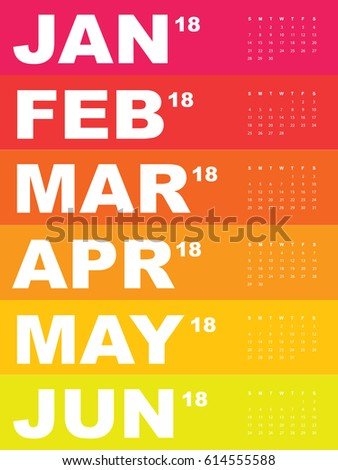 Template of calendar for 2018