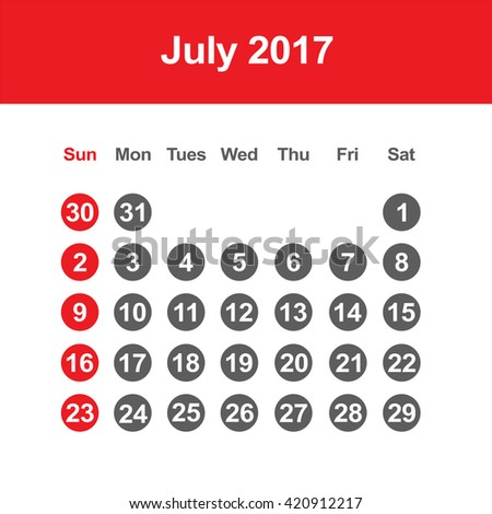 Template of calendar for July 2017