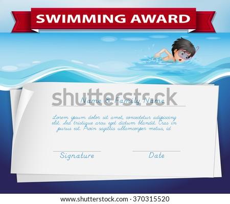 Template Certificate Swimming Award Illustration Stock Vector ...