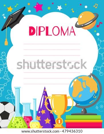 Template Childrens Diplomas Certificates Preschool Elementary Stock ...