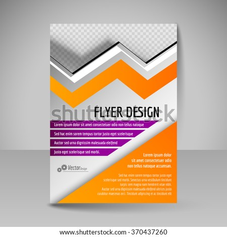 Template of flyer for business brochures, presentations, websites, magazine covers. Editable vector design elements. Purple and orange colors.