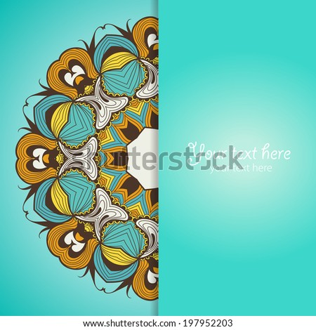 Template of greeting card with flower. Vector illustration
