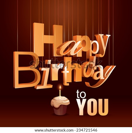 Template Happy Birthday Card 3 D Text Stock Vector 234721546