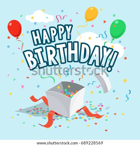 Template happy birthday greeting card balloons stock photo photo template of happy birthday greeting card with balloons gift box and ribbons on light blue bookmarktalkfo Images