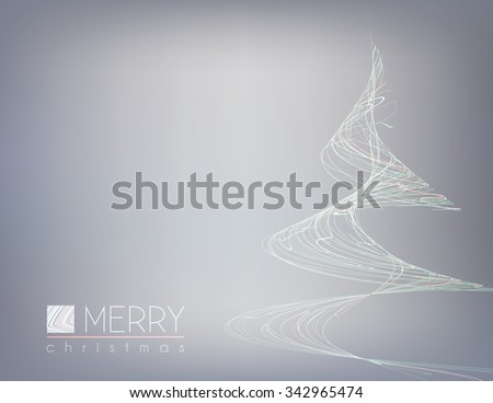 Template of minimal Christmas card with unusual christmas tree of thin white strips. Simple vector graphic layout - stock vector
