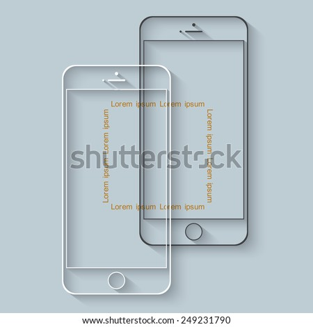 Template of mobile phones with long shadow for presentation or infographics. Vector EPS10 - stock vector