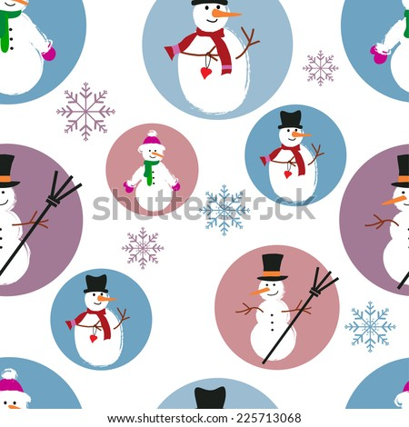 template of snowmen on blue and purple background  - stock vector