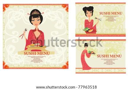 template of traditional Japanese food menu set - stock vector