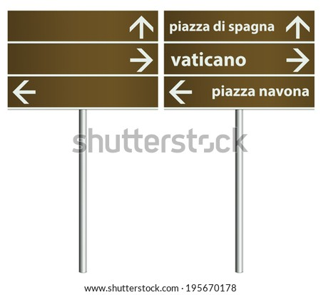 Template of traditional Rome Italy City Signboards. EPS10. The example shows; Spanish Square, Vatican City and Navona Square in Italian language. - stock vector