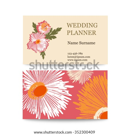 Template vector vintage business cards floral stock vector 2018 template of vector vintage business cards with floral logo ideal for a wedding planner or reheart Choice Image