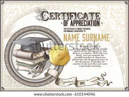 Template vintage certificate appreciation square academic template of vintage certificate of appreciation with a square academic cap a pile of books yelopaper Choice Image