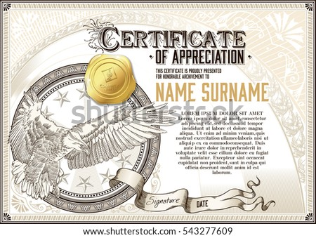 Template vintage certificate appreciation flying eagle stock vector template of vintage certificate of appreciation with flying eagle and golden badge yadclub Images