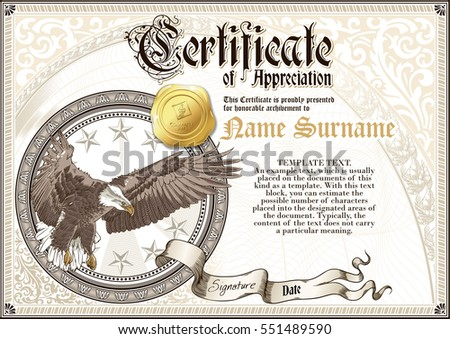 Template vintage certificate appreciation flying eagle stock photo template of vintage certificate of appreciation with flying eagle and golden badge with patterns yadclub Images