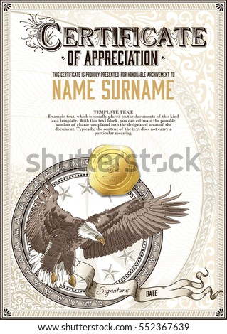 Template vintage certificate appreciation flying eagle stock vector template of vintage certificate of appreciation with flying eagle and golden badge with patterns yadclub Images