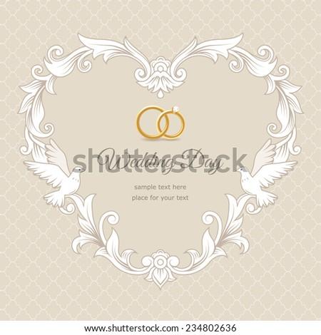 template of wedding card frame heartshaped on beige background