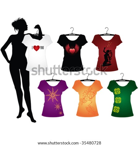 Template of Woman's t-shirts with different signs - stock vector