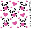 template pattern to the day of love - love pandas and pink hearts on white background - stock vector