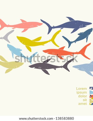 Template poster design with hand-drawn sharks silhouettes. EPS 10 vector, transparencies used. - stock vector