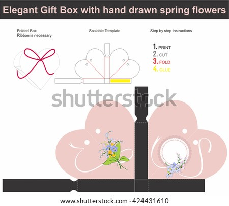 Template present box in heart shape with hand drawn spring flower | Scalable template | Die-stamping