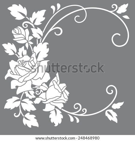 Template rose frame  design for greeting card.  - stock vector