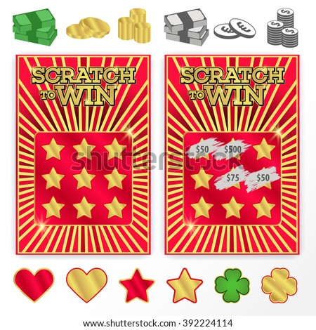 Scratch ticket stock images royalty free images vectors template scratch ticket to win illustrations of coins bills gold and other symbols sciox Gallery