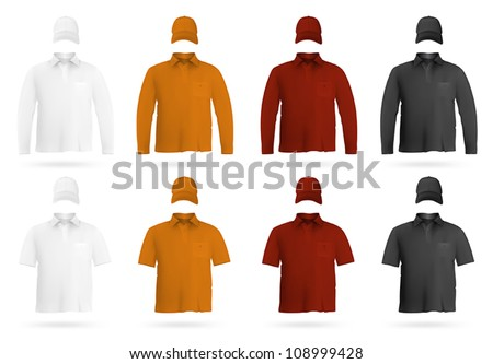 Template set: blank polo shirts and hats. - stock vector