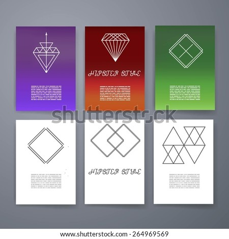 Template set hipster geometric typography retro stock vector set hipster geometric typography retro flyer poster business card templates line reheart Choice Image
