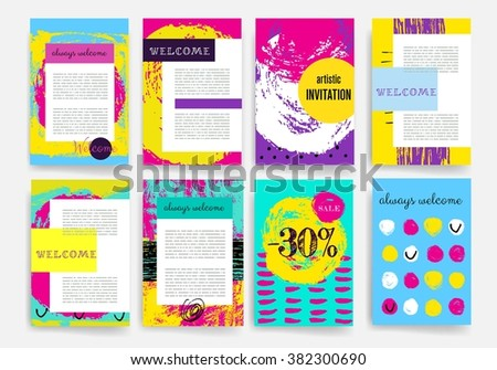Template. Set of Trendy Posters with hand drawn Background. Modern Hipster Style for Invitation, Business Contemporary Design, Placards, Flyer. Sale.