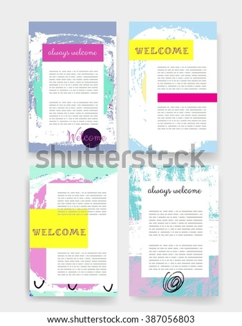 Template. Set of Trendy Posters with hand drawn Background. Modern Hipster Style for Invitation, Business Contemporary Design, Placards, Flyer