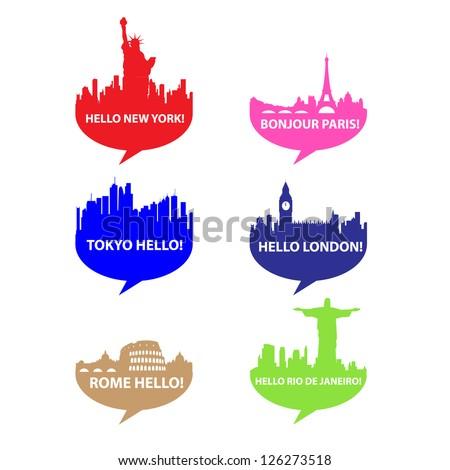 Template set-Speech bubble - Hello City! vector - stock vector