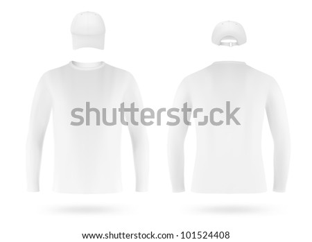 Template set: white long sleeve blank t-shirt and a cap - stock vector