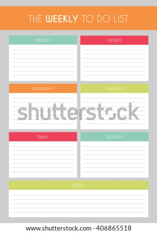 Template: Simple Colorful 'The Weekly to Do List' - stock vector