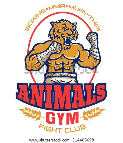 Template sport logo for fighting club with angry muscular tiger - stock vector