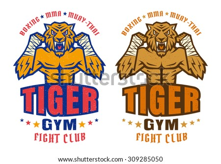 Template sport logo for fighting club with angry tiger - stock vector