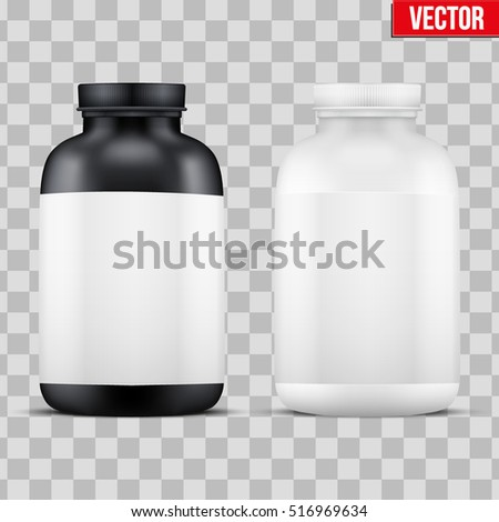Template Sport Vitamin Container. Black and White Plastic Jar. Vector Illustration isolated on transparent background