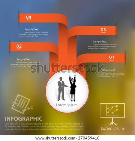 Template 4 steps with blur background for business design, reports, step presentation, number options, progress, workflow layout or websites. - stock vector