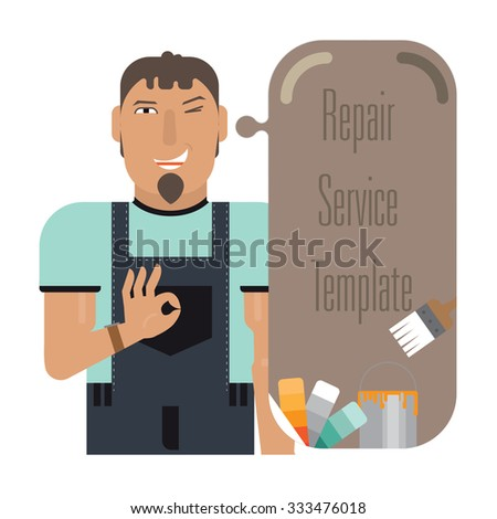 Template talk painter thinking.It contains speech bubble, tools and paint. - stock vector