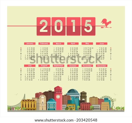 Template text calendar for 2015 on a poster with cityscape on the weather-vane, the rooster weathervane  - stock vector