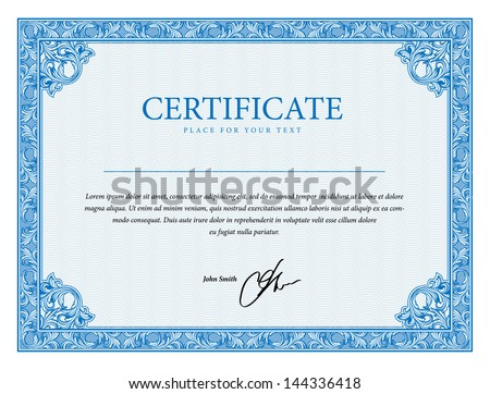 Template that is used in diplomas, certificate, and currency with floral elements. Vector illustration - stock vector