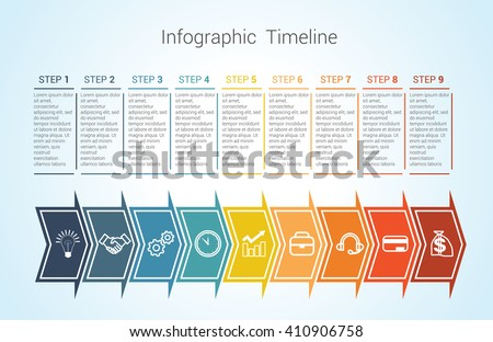 Template Timeline Infographic colored horizontal arrows numbered for nine position can be used for workflow, banner, diagram, web design, area chart - stock vector