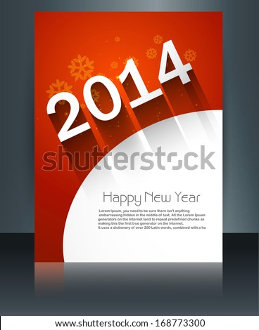 Template vector brochure New Year 2014 colorful design - stock vector