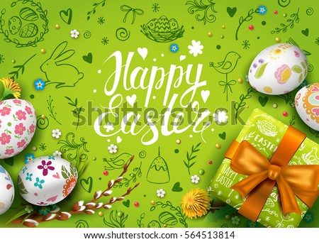 Template vector card with realistic eggs, gift box and flowers. Handwriting inscription Happy Easter. Green background. Willow and dandelions.  Lettering, calligraphy. 3D. Doodles hand drawn elements.