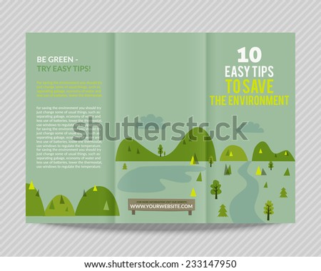 Template vector ecological bright design for trifold brochure with green drawn landscape and eco icons. Editable, bright. Proportionally for A4 size - stock vector