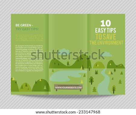 Template vector ecological green design for trifold brochure with drawn landscape and eco icons. Editable, bright. Proportionally for A4 size - stock vector