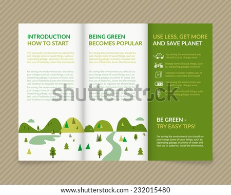 Template vector ecological light design for trifold brochure with green drawn landscape and eco icons. Editable, bright. Proportionally for A4 size