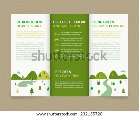 Template vector ecological light design for trifold brochure with green drawn landscape and eco icons. Editable, bright. Proportionally for A4 size - stock vector