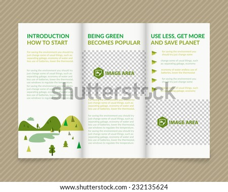 Template vector ecological light design for trifold brochure with green drawn landscape and places for photo. Editable, bright. Proportionally for A4 size - stock vector